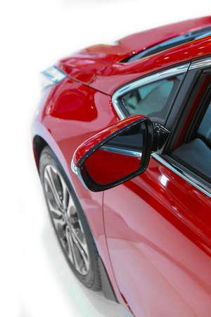 red sports car: modern red sports car closeup Stock Photo