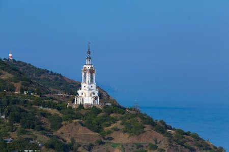 beacon: church - beacon on mountainous coast of Crimea