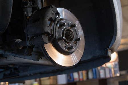 Auto remschijf zonder wielen close-up Stockfoto