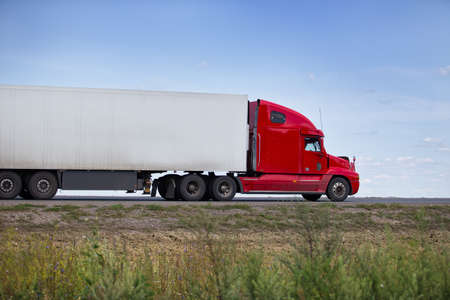 country highway: truck transports freight on the country highway