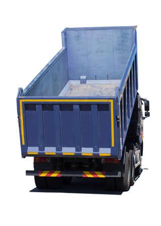volteo: gran camión volcado azul aislado en blanco