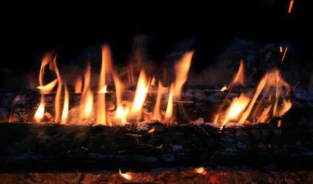 brightly: birch firewood brightly burning in fire