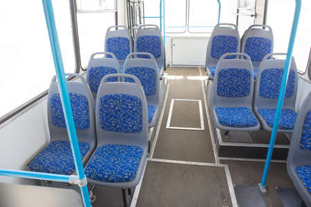 buses: bus interior without people on white background