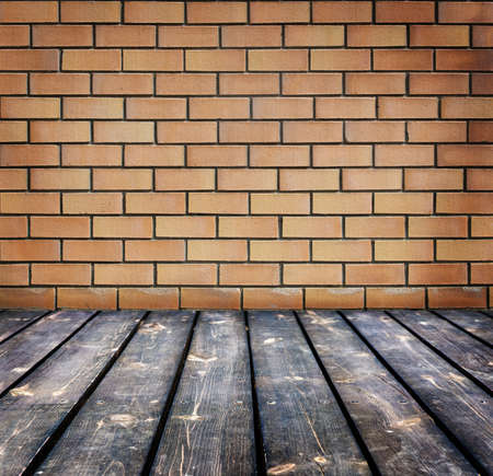 timber floor: background with brick wall and  timber floor Stock Photo