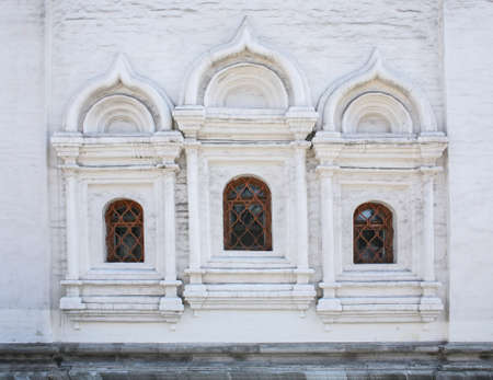 russian orthodox: wall with windows of ancient Russian Orthodox Church