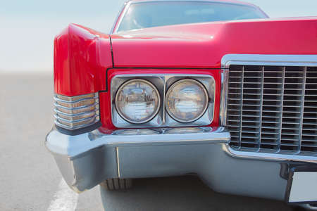 old red American car close-up Editorial