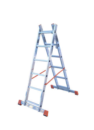 clambering: Aluminum metal step-ladder isolated white background Stock Photo