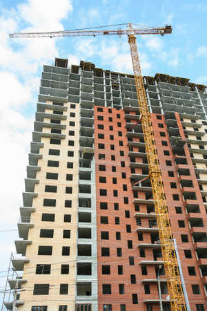 residential construction: construction of multi-storey residential brick building