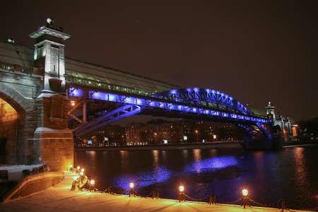 winter night Moscow foot bridge Andrews