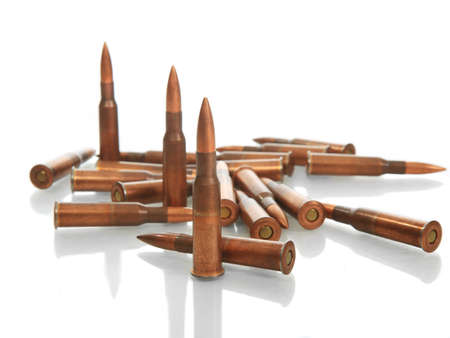 many bullets on white background Studio closeup Stock Photo