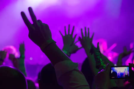 dancing audience at concert at  nightclub