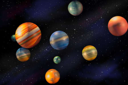Planets in space universe and stars Stock Photo