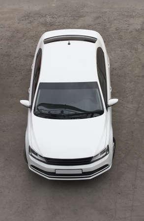 Witte moderne auto bovenaanzicht Stockfoto