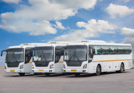 big tourist buses on parking Stock Photo