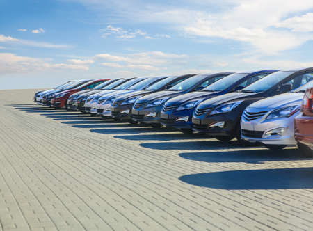 Cars For Sale Stock Lot Row. Car Dealer Inventory Archivio Fotografico