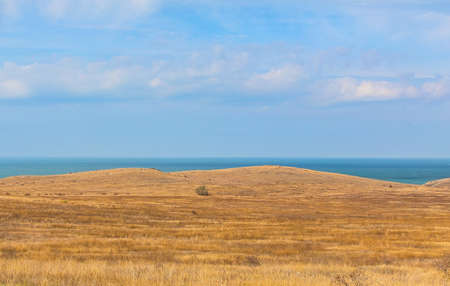 Steppe, hills and sea in the background.