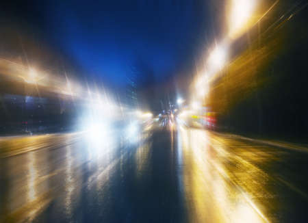 high-speed movement on the night road Stock Photo