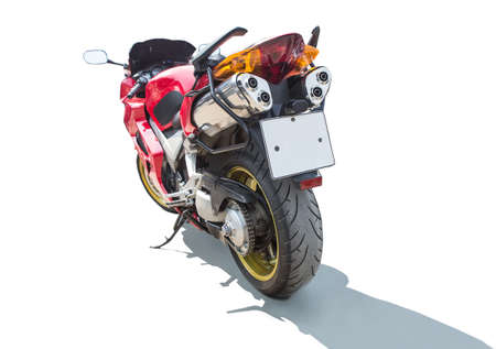 motorcycle on the back isolated on a white background