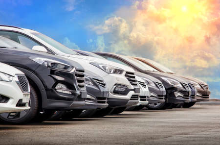Cars For Sale Stock Lot Row. Car Dealer Inventory Reklamní fotografie