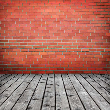 background with brick wall and  timber floor Stock Photo