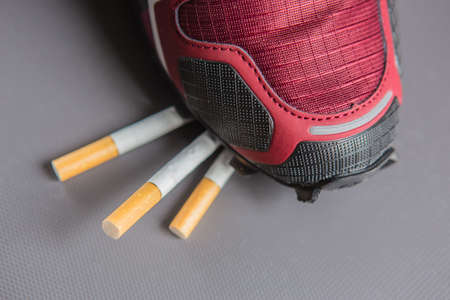 Leg in sneaker treading down cigarettes. Concept of combating smoking.