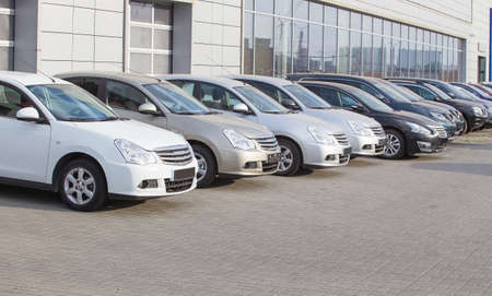 Cars For Sale Stock Lot Row. Car Dealer Inventory Stock fotó