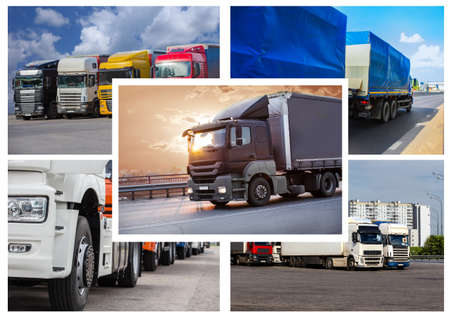 trucks collage of different photos of cargo delivery by various trucks 免版税图像