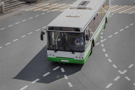 bus at city intersection top view