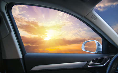 beautiful sunset from the car window
