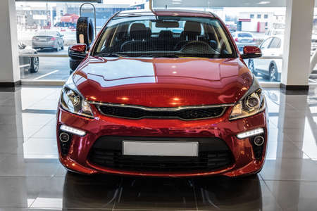 New Red Car In The Showroom For Sale