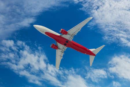 Passenger Plane Flying In The Sky Bottom View