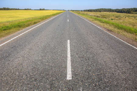 Empty straight asphalt road surrounded by fields. 写真素材