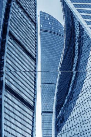 Modern futuristic skyscrapers with glass facades