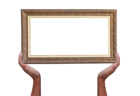Frame for a picture in female hands isolated on a white background