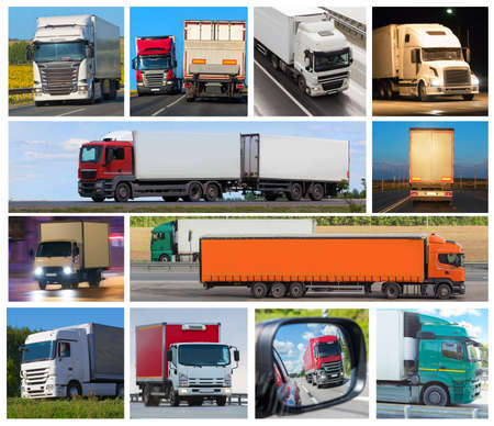 Collage Trucks delivering various cargoes in different directions. Imagens
