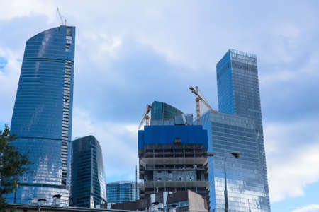 High rise buildings of Moscow business center Moscow - city 版權商用圖片 - 138257884
