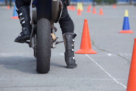 Motorcyclist on the motorcycle before competition start