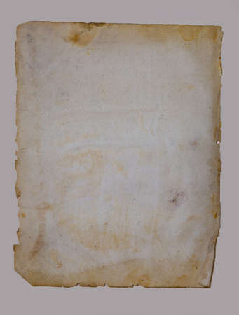 Sheet of vintage paper isolated on a beige background