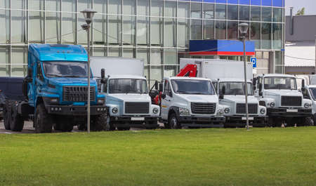 Trucks For Sale Stock Lot Row. Truck Dealer Inventory