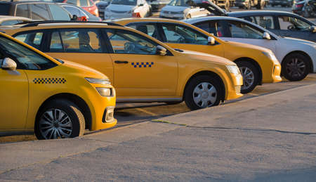 yellow taxi in the parking lot