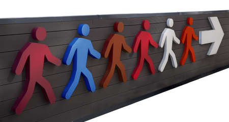 Icon group of people moving in the direction of the arrow