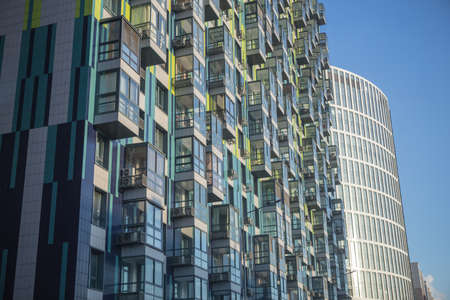 Facades of new modern apartment buildings
