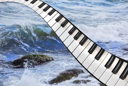 Piano keys over sea waves concept.