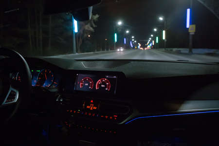 View from Moving Car on Highway at Night