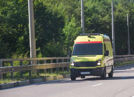 Ambulance on City Street in Summer Day Stok Fotoğraf