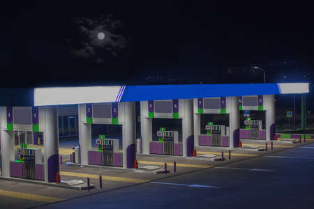Gas station without cars at night close-up
