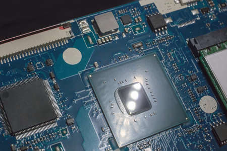 Processor and circuit board of modern laptop close-up