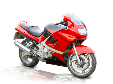 red sports motorcycle on white background