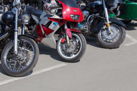 Motorcycles in the parking lot on summer day
