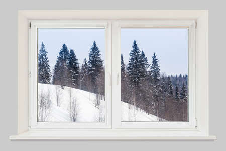 View from the window winter forest on the hill